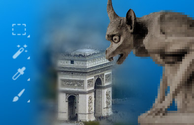 An edited image of a gargoyle statue next to various Photoshop brush tools.