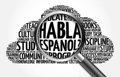 "Magnifying glass over the phrase ""Do you speak Spanish"" in Spanish"